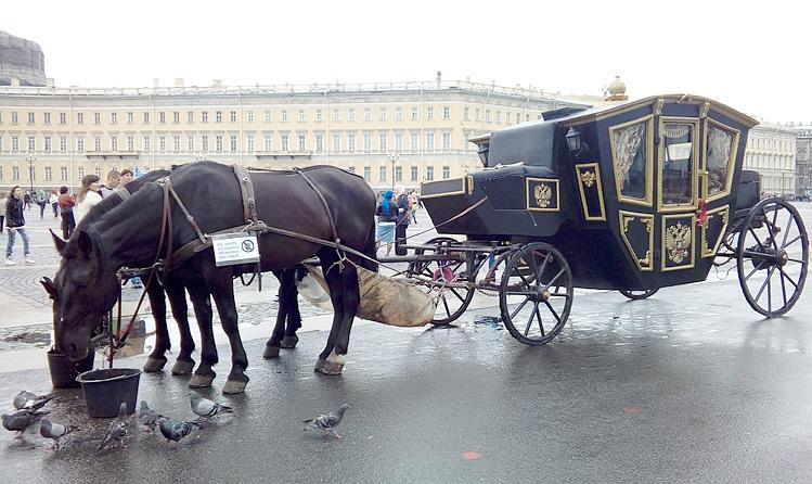 В наши дни по Дворцовой площади в каретах ездят не вельможи, а туристы