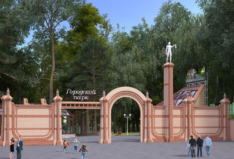 Эскизы стелы и входной группы городского парка имеют схожие элементы