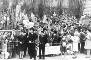 Педагоги и студенты Горного техникума на первомайской демонстрации