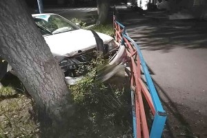 Слетел с дороги, повредил леера и врезался в дерево